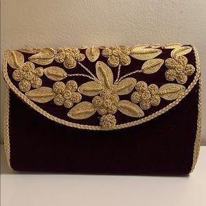 Handmade embroidered evening clutch gold thread